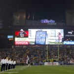 Gillette Stadium's newly installed video board is enormous