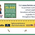 Patriots, Revolution, Massachusetts Military Support Foundation and Ocean State Job Lot to Fill 30,000 Backpacks for Military Children